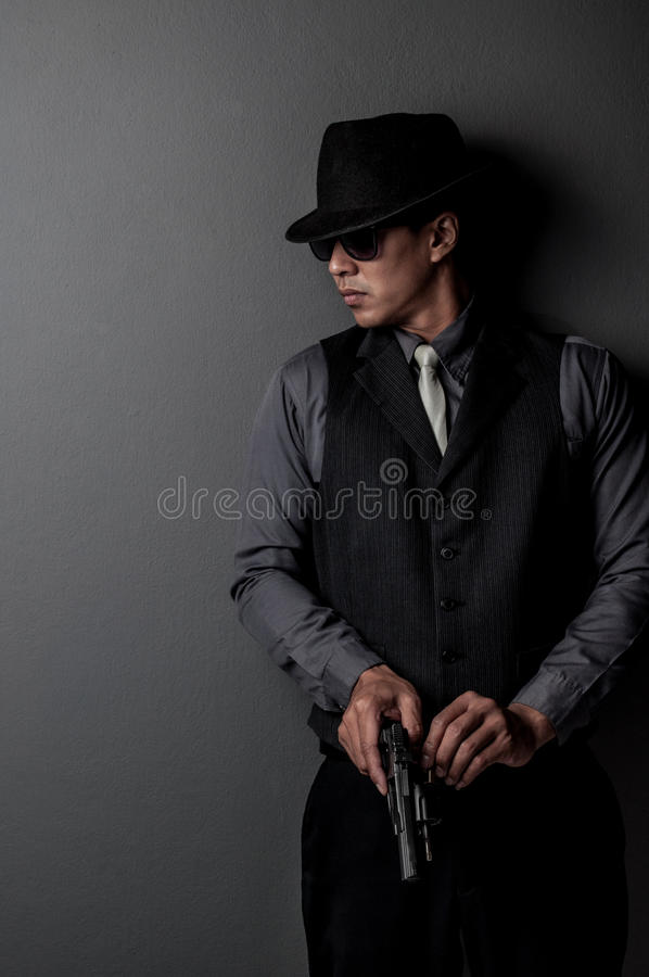 Hombre del asesino y de la mafia imagen de archivo libre de regalías