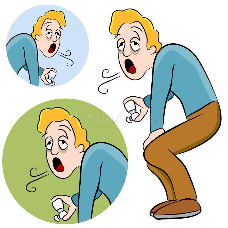 Hombre del asma ilustración del vector