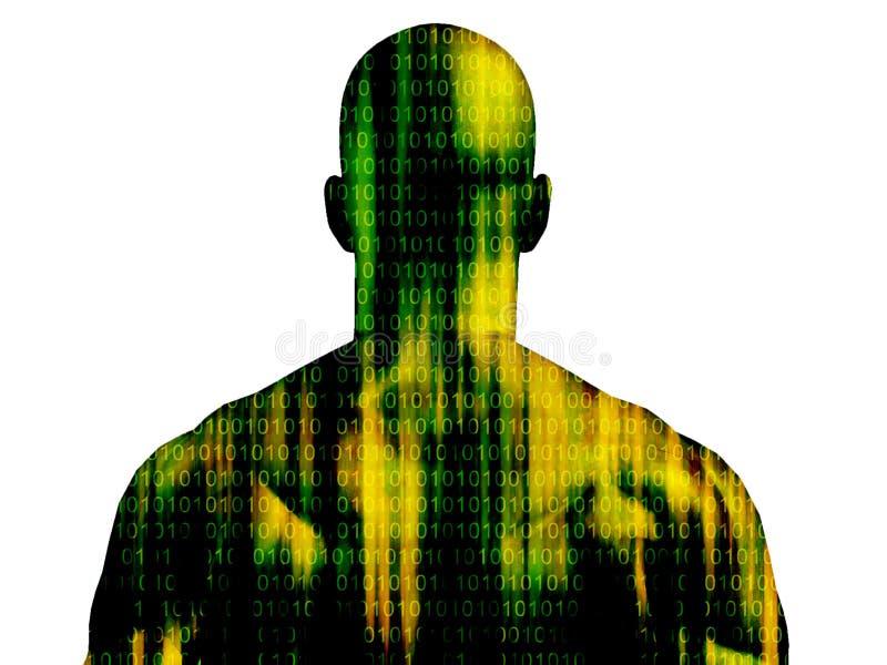 Hombre del código binario ilustración del vector