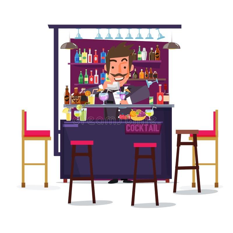 Hombre del camarero con la barra y el cóctel diseño de carácter - ilustración del vector