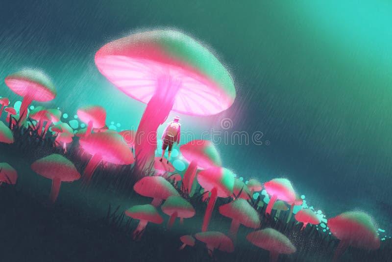 Hombre del caminante en el bosque grande de las setas en la noche lluviosa stock de ilustración