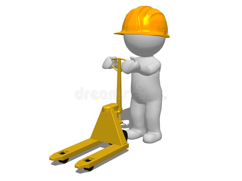 hombre del carácter 3d que empuja el camión de plataforma vacío con el casco de seguridad amarillo ilustración del vector