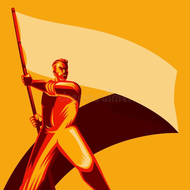 Hombre del cartel de la revolución que celebra el ejemplo en blanco del vector de la bandera libre illustration