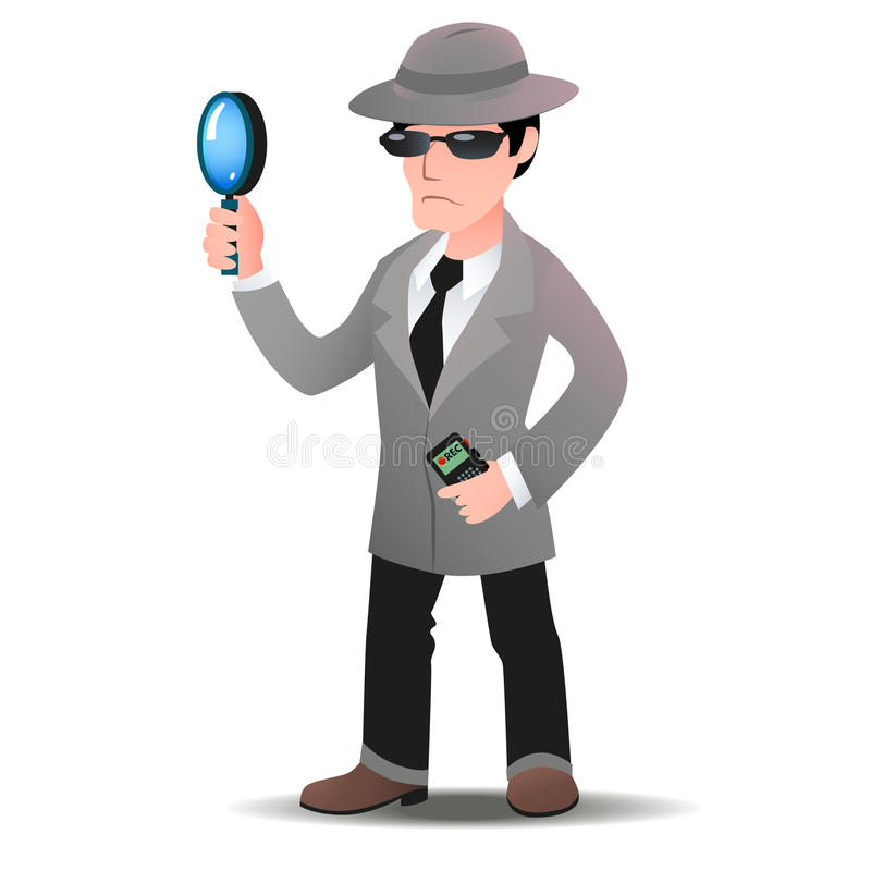 Hombre del comprador del misterio en capa del espía ilustración del vector