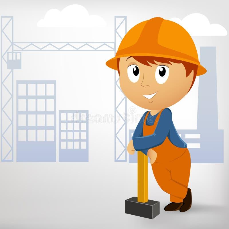 Hombre del constructor con la almádena ilustración del vector