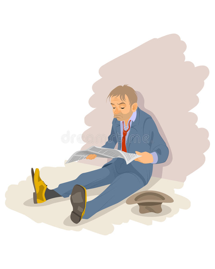 Hombre del desempleo en el piso ilustración del vector