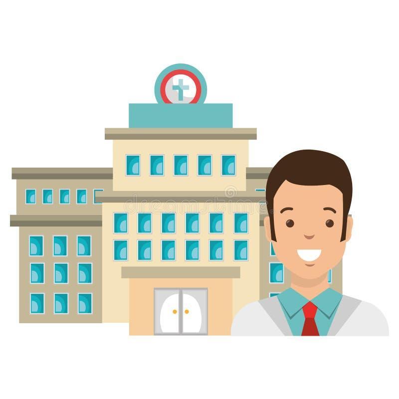 Hombre del doctor con el edificio del hospital stock de ilustración