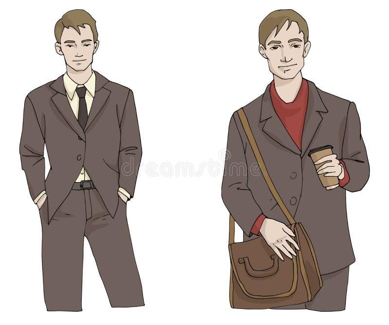 Hombre del ejemplo de la moda del vector con la cartera y el café en el traje en colores marrones y grises aislado en el fondo b ilustración del vector