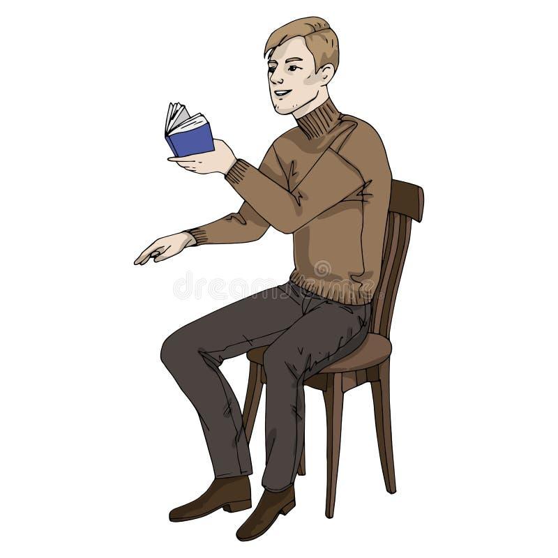Hombre del ejemplo del vector con el libro que se sienta en una silla ilustración del vector