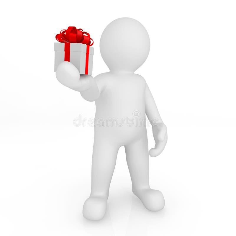 hombre del espacio en blanco 3d que sostiene la caja de regalo ilustración del vector