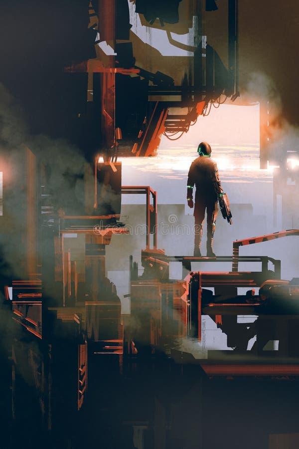 Hombre del espacio que se coloca en el edificio industrial libre illustration