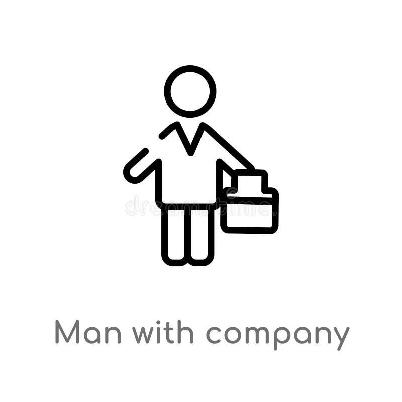 hombre del esquema con el icono del vector de la compa??a l?nea simple negra aislada ejemplo del elemento del concepto de la gent stock de ilustración