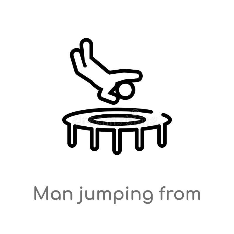 hombre del esquema que salta de un icono del vector del trampolín línea simple negra aislada ejemplo del elemento del concepto de ilustración del vector