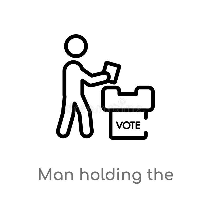 hombre del esquema que sostiene el documento del voto sobre el icono del vector de la caja l?nea simple negra aislada ejemplo del libre illustration