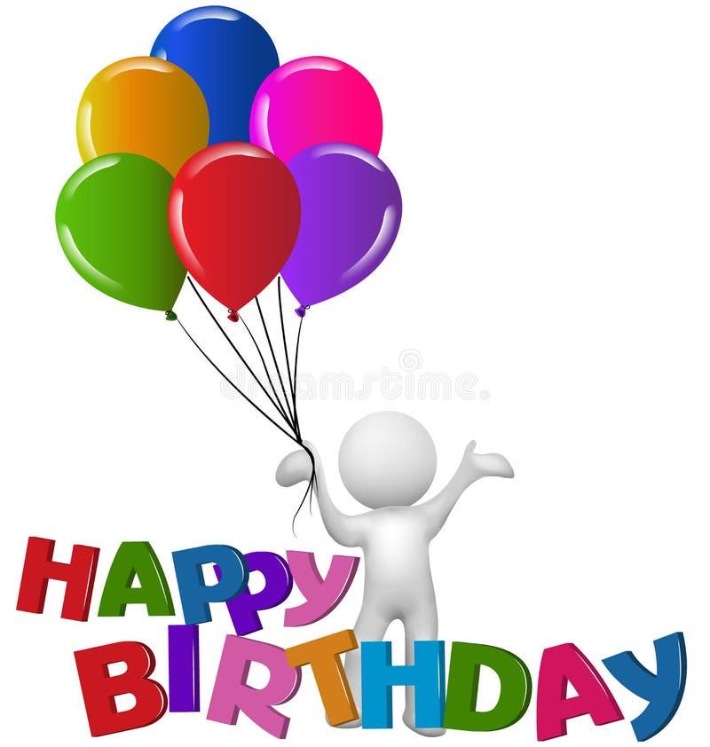 Hombre del feliz cumpleaños 3D con los globos ilustración del vector