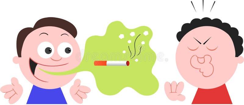 Hombre del fumador con malo aliento de la mala respiración ilustración del vector