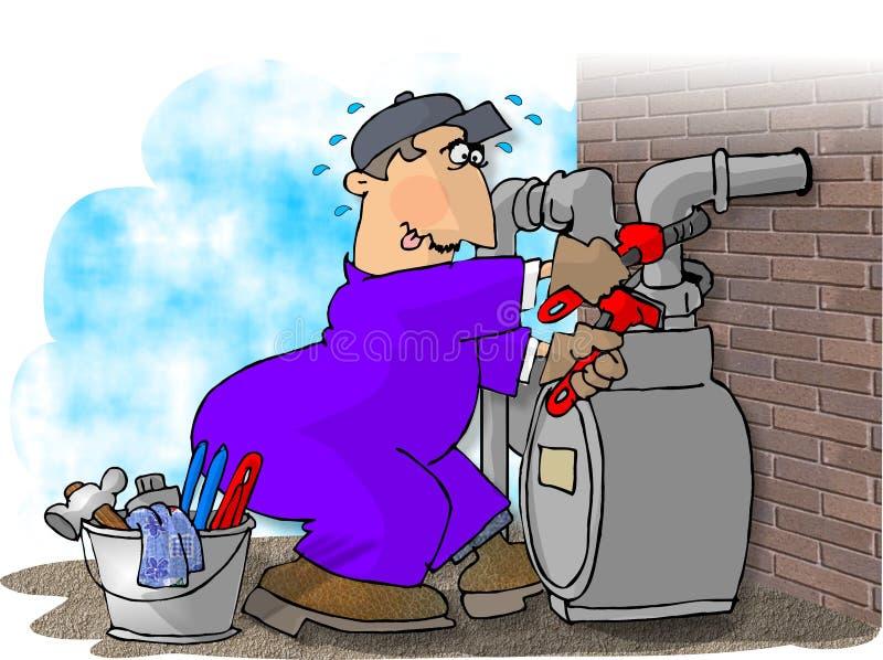 Hombre del gas que cambia un contador stock de ilustración