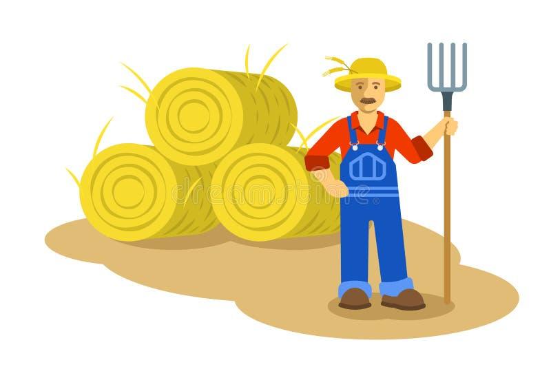 Hombre del granjero que se coloca con el ejemplo plano del bieldo stock de ilustración