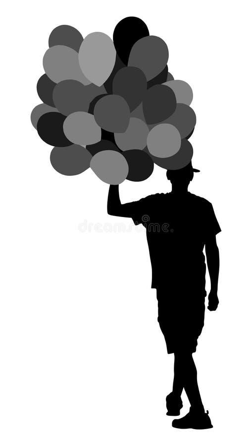 Hombre del inconformista con la silueta de los globos Muchacho que camina con los globos Evento de la celebración Animador en cum stock de ilustración