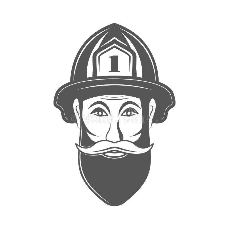 Hombre del inconformista en el ejemplo del vector del sombrero del bombero en estilo del vintage del monocrome libre illustration