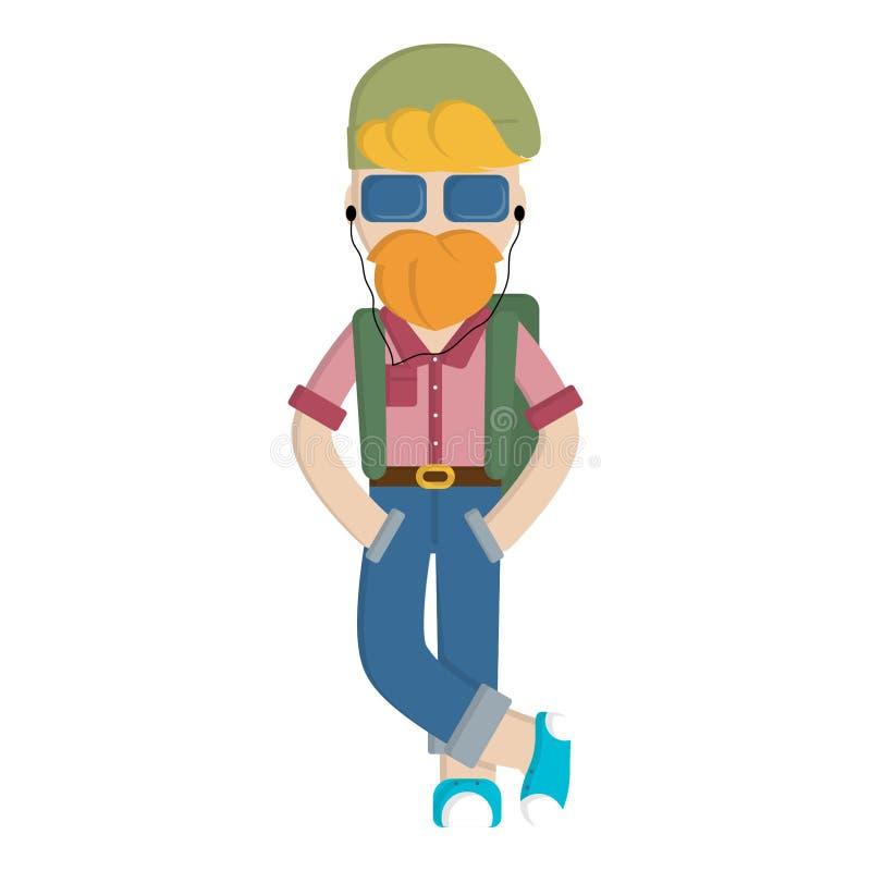 Hombre del inconformista del vector de la historieta con la barba y la mochila Hombre adulto confiado en estilo plano Carácter ur ilustración del vector
