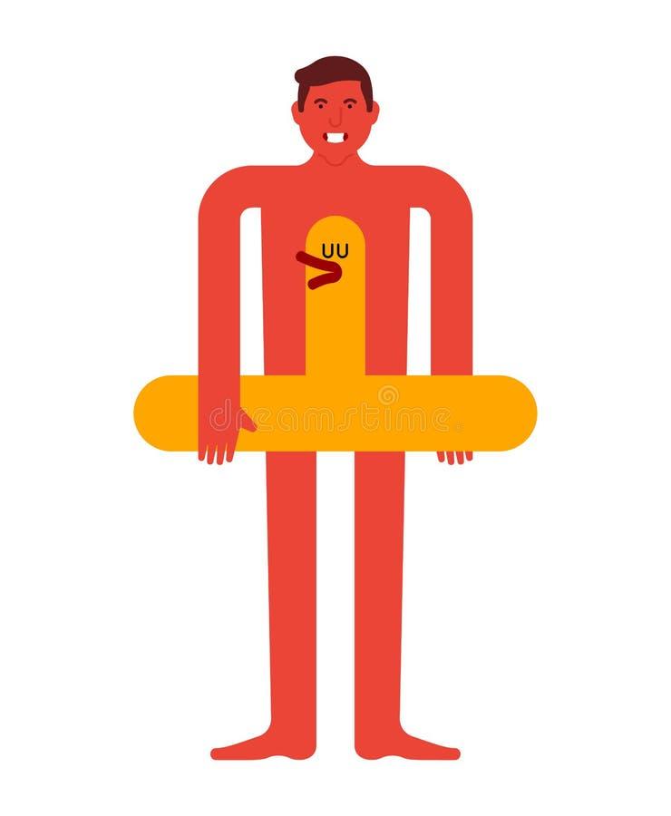 Hombre del individuo y pato del anillo de la nadada Hombre y y un anillo de goma inflable Resto del verano ilustración del vector