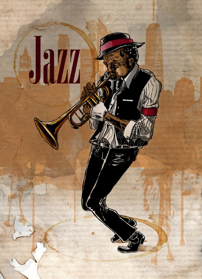 Hombre del jazz que toca la trompeta Funcionamiento del músico stock de ilustración