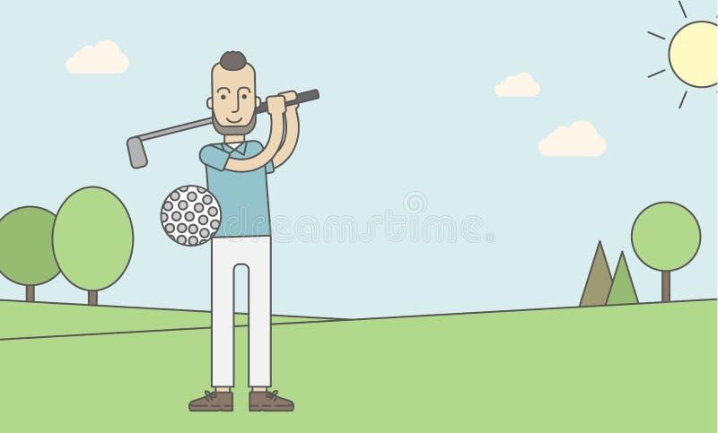 Hombre del jugador de golf ilustración del vector