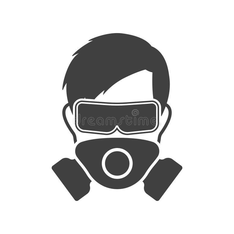 Hombre del logotipo en una máscara y vidrios protectores - equipo protector personal Vector en el fondo blanco ilustración del vector