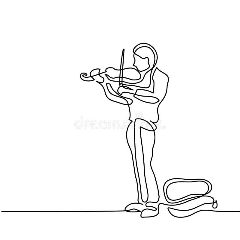 Hombre del músico de la calle que toca el violín libre illustration