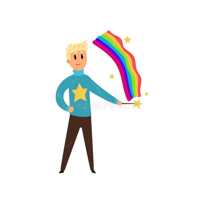 Hombre del mago que crea el arco iris colorido por el palillo mágico Persona con poderes mágicos Diseño plano del vector libre illustration