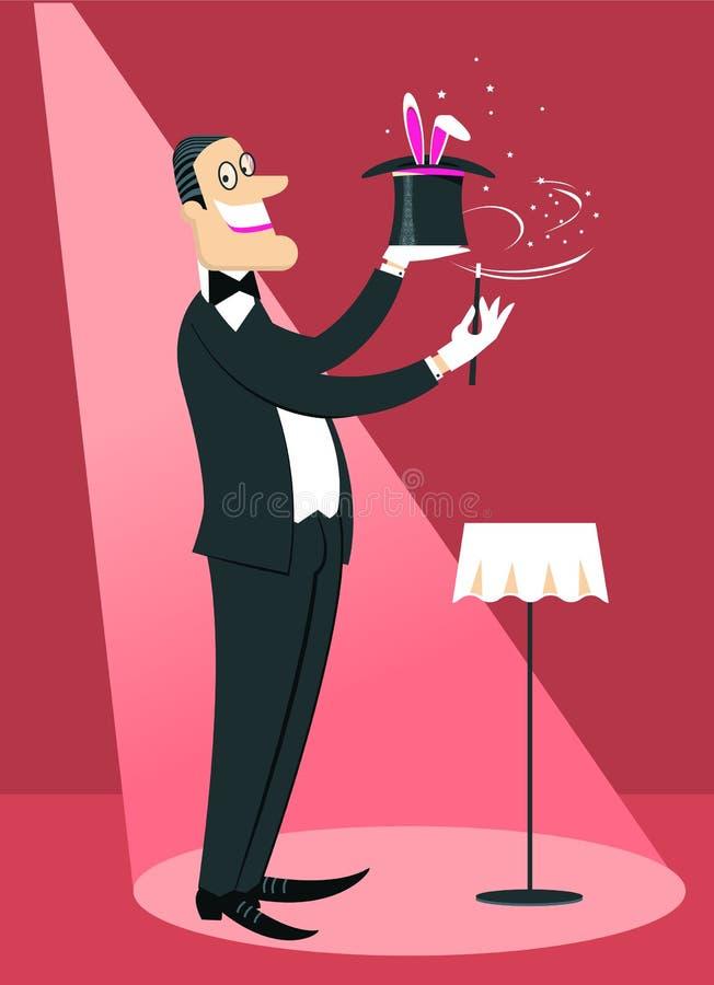 Hombre del mago que hace un truco con la vara mágica y el conejo blanco en s stock de ilustración