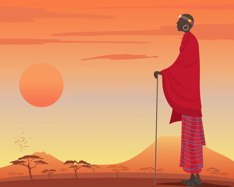 Hombre del Masai stock de ilustración