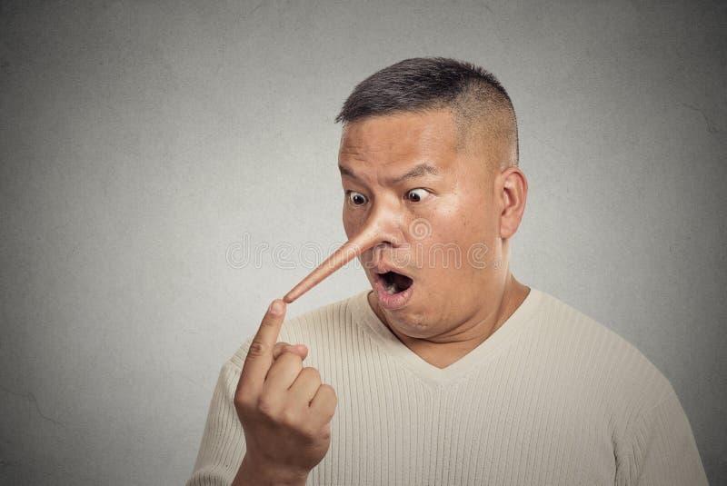 Hombre del mentiroso con la nariz larga aislada en fondo gris de la pared fotos de archivo libres de regalías