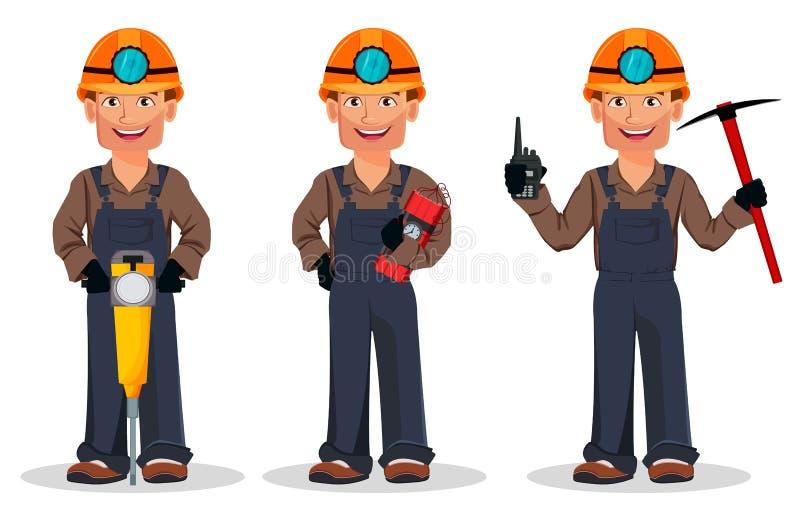 Hombre del minero, trabajador de mina Personaje de dibujos animados stock de ilustración