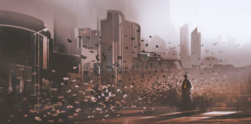 Hombre del misterio con la muchedumbre de mariposas en ciudad ilustración del vector