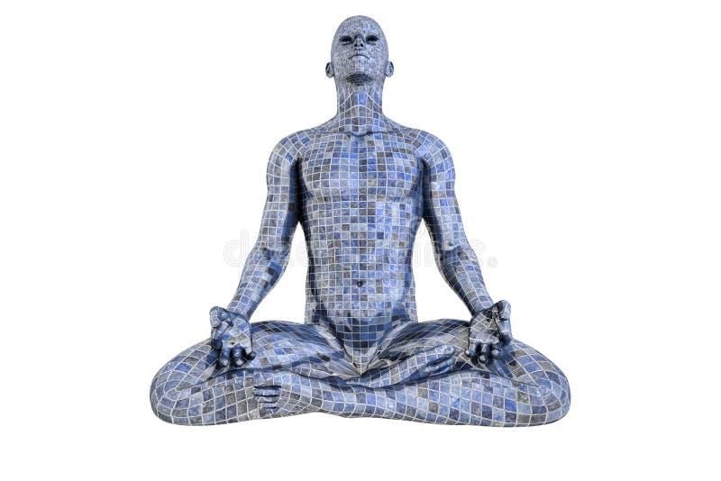 Hombre del mosaico en la meditación ilustración del vector