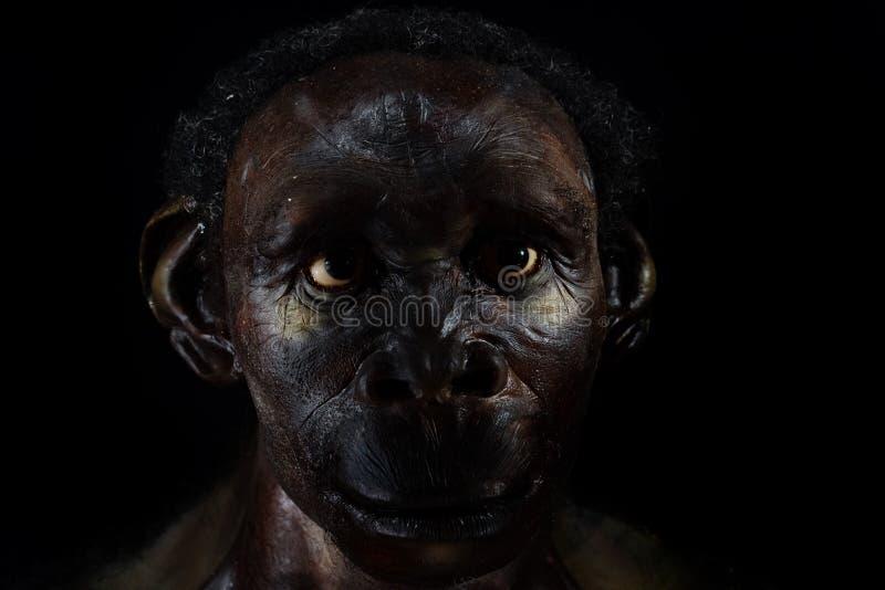 Hombre del Neanderthal aislado en negro fotografía de archivo