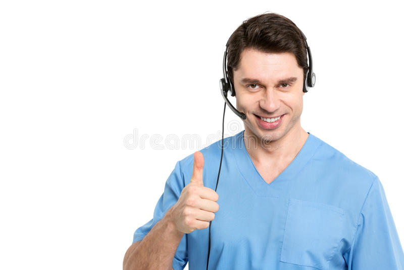 Hombre del operador de centro de atención telefónica en médico fotografía de archivo