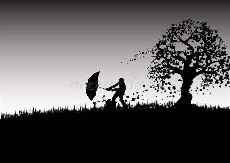 Hombre del paraguas stock de ilustración