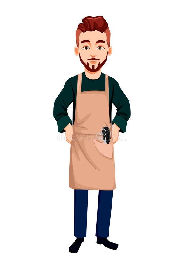 Hombre del peluquero Personaje de dibujos animados hermoso libre illustration
