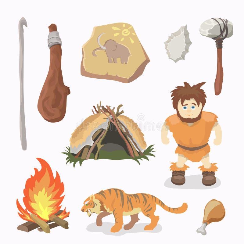Hombre del primitivo de los iconos de la Edad de Piedra cavemen neanderthals Homo sapiens ilustración del vector