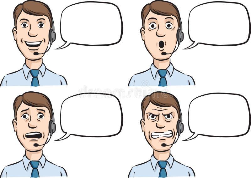 Hombre del servicio de atención al cliente con la burbuja de las auriculares y del discurso libre illustration