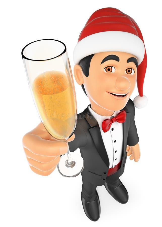 hombre del smoking 3D que tuesta con un vidrio de champán stock de ilustración