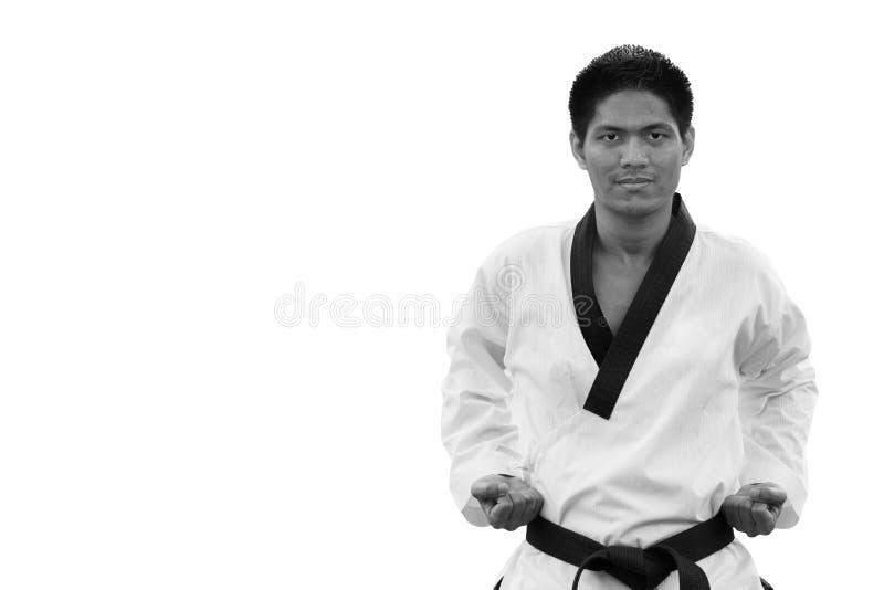 Hombre del Taekwondo de la correa negra aislado en blanco imagenes de archivo