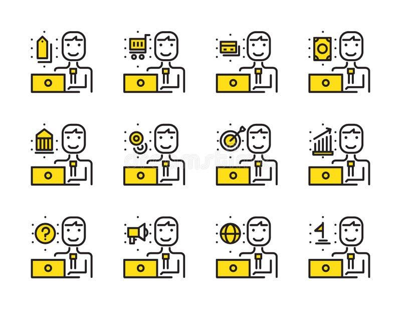 Hombre del trabajador con el sistema del icono del esquema del ordenador portátil Márketing en línea, shopp stock de ilustración