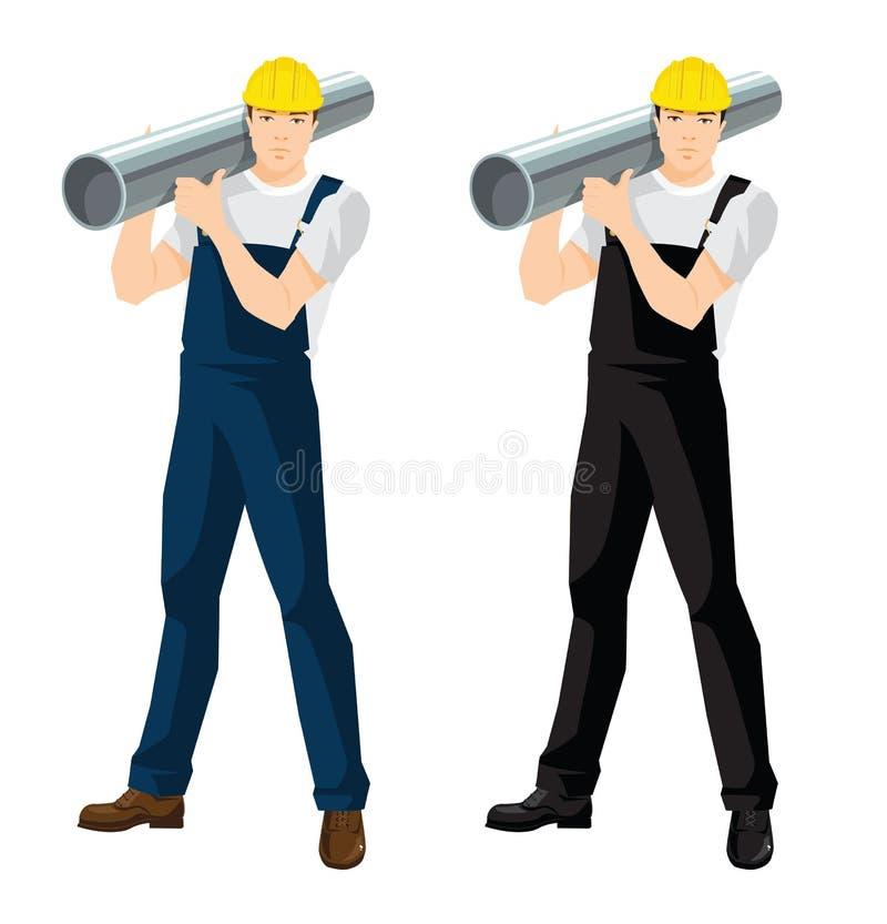 hombre del trabajador en uniforme ilustración del vector
