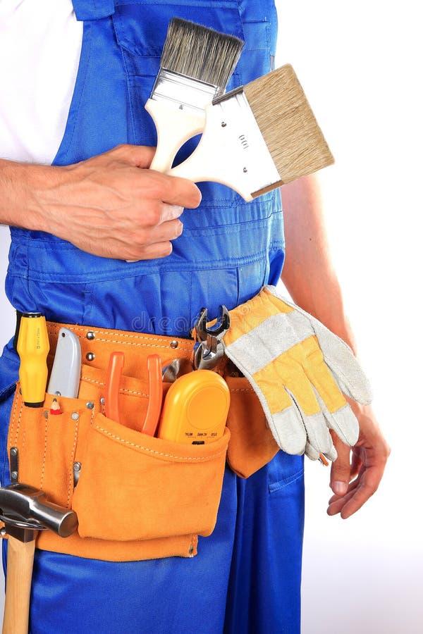 Hombre del trabajador manual aislado en el fondo blanco fotos de archivo libres de regalías