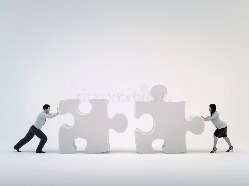 Hombre del trabajo en equipo, de negocios y mujer de negocios que se empujan hacia el rompecabezas. libre illustration