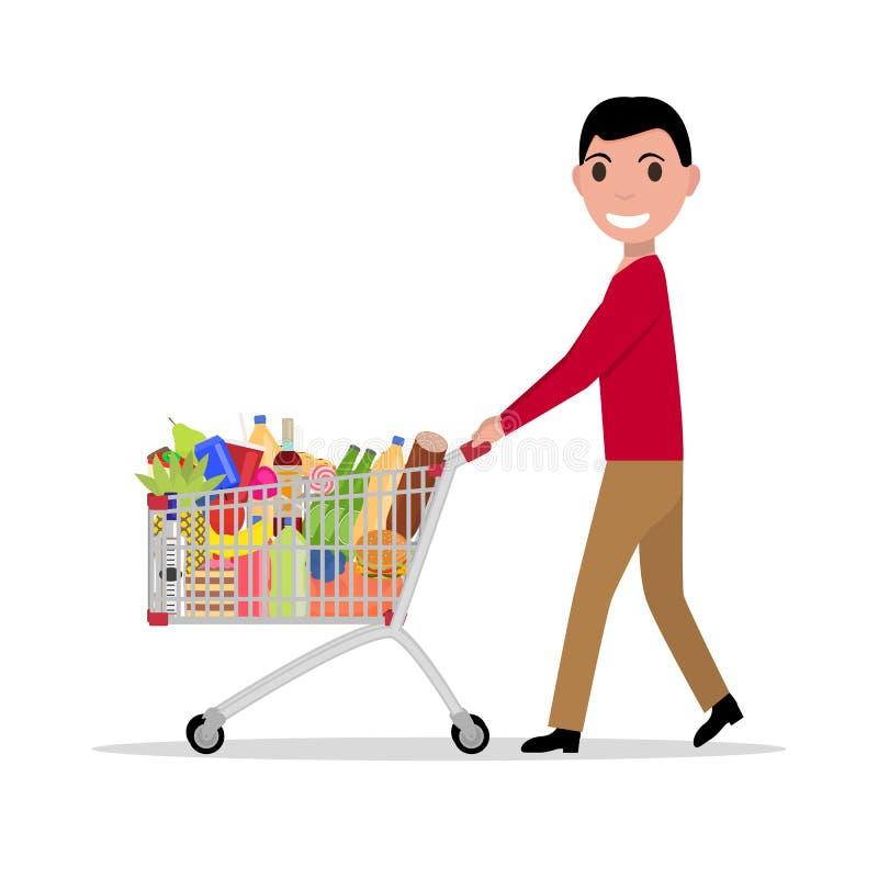 Hombre del vector con los ultramarinos llenos de la carretilla de las compras libre illustration